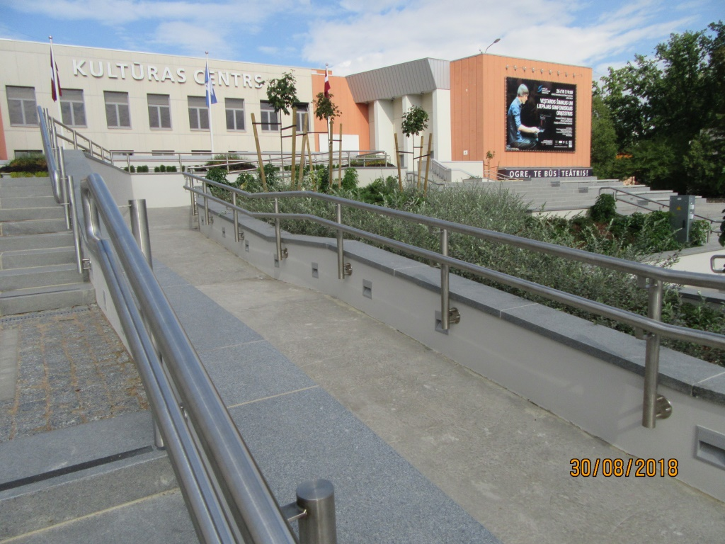 Pabeigta Ogres kultūras centra ārējo kāpņu pārbūve